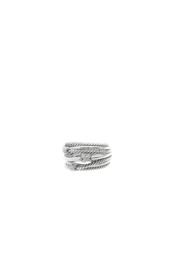 David Yurman Diamond Triple X Crossover Ring - Silver Size 8