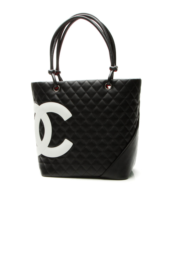 Chanel Cambon Small Shopping Tote Bag - Black/White