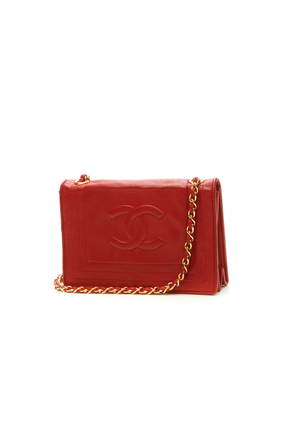 Chanel Vintage CC Chain Shoulder Bag - Red