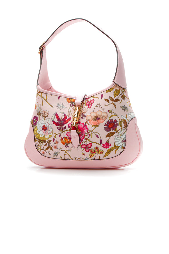 Gucci Limited Edition Flora Jackie Medium Hobo Bag - Light Pink
