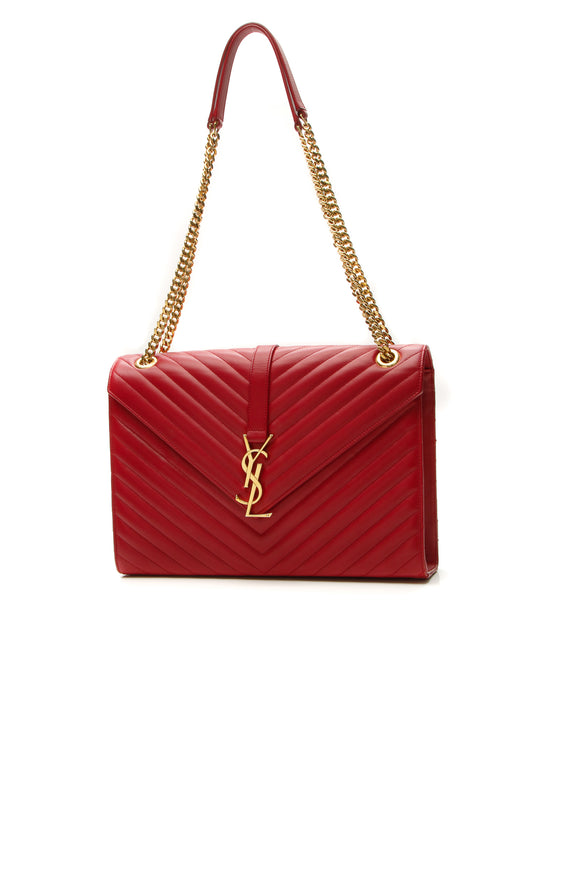 Saint Laurent Chevron Envelope Chain Bag - Red