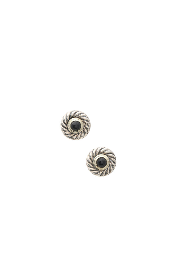 David Yurman Black Onyx Cookie Stud Earrings - Silver/Gold