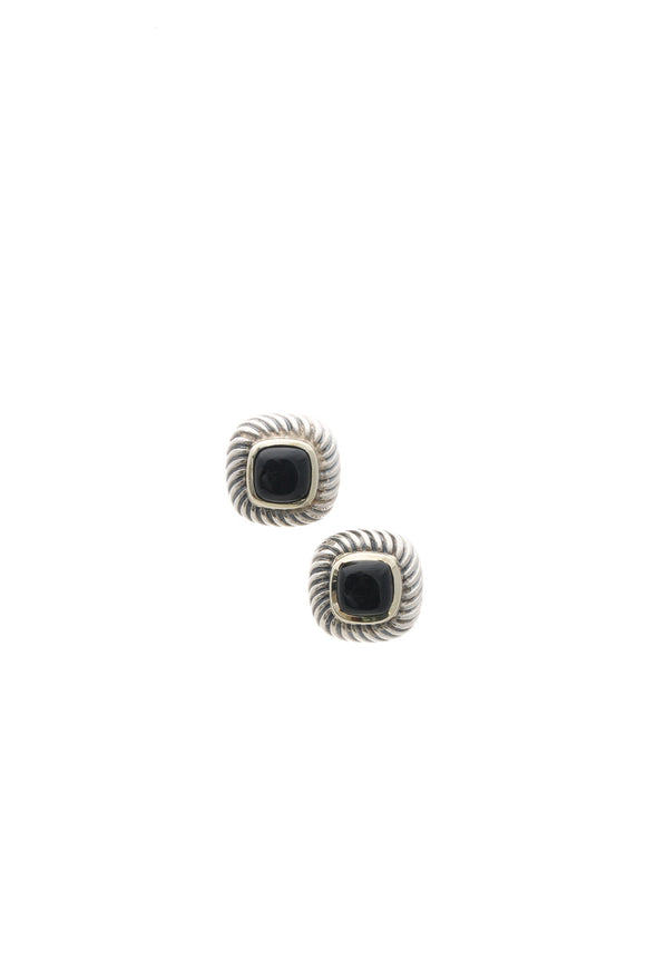 David Yurman Black Onyx Petite Albion Earrings - Silver/Gold