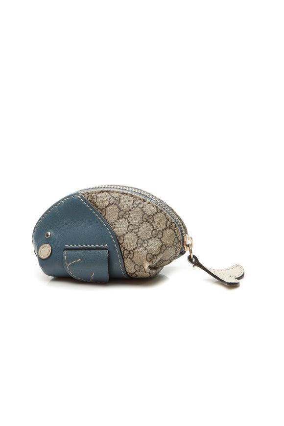 Gucci Zoo Whale Mini Coin Purse - Supreme Canvas/Blue