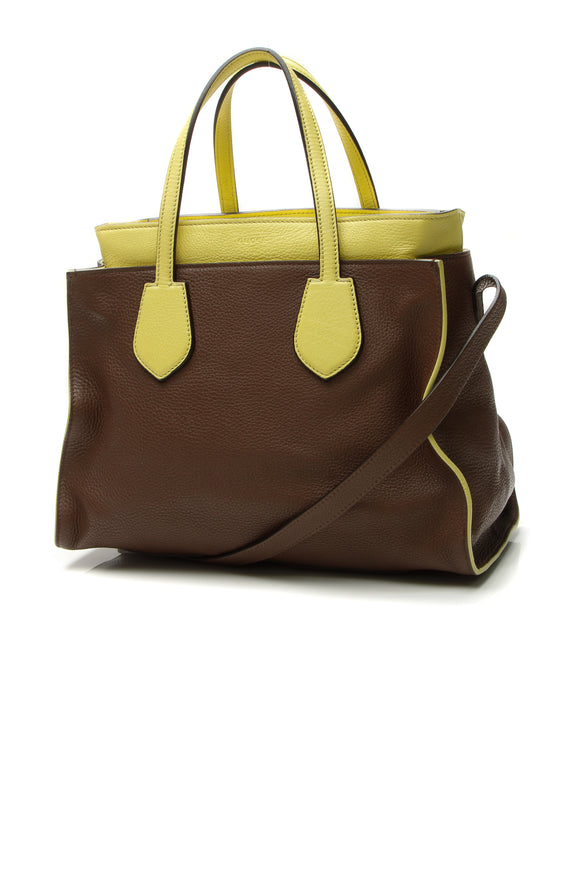 Gucci Ramble Layered Tote - Brown/Lime