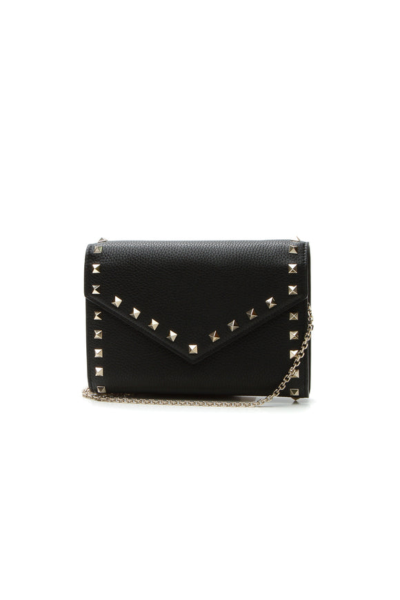 Valentino Rockstud Wallet on a Chain Bag - Black