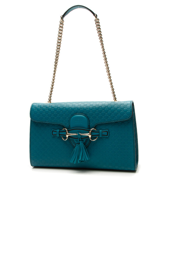 Gucci Emily Medium Shoulder Bag - Teal Microguccissima