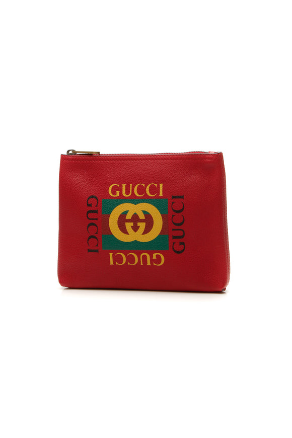 Gucci Print Small Portfolio Case - Hibiscus Red