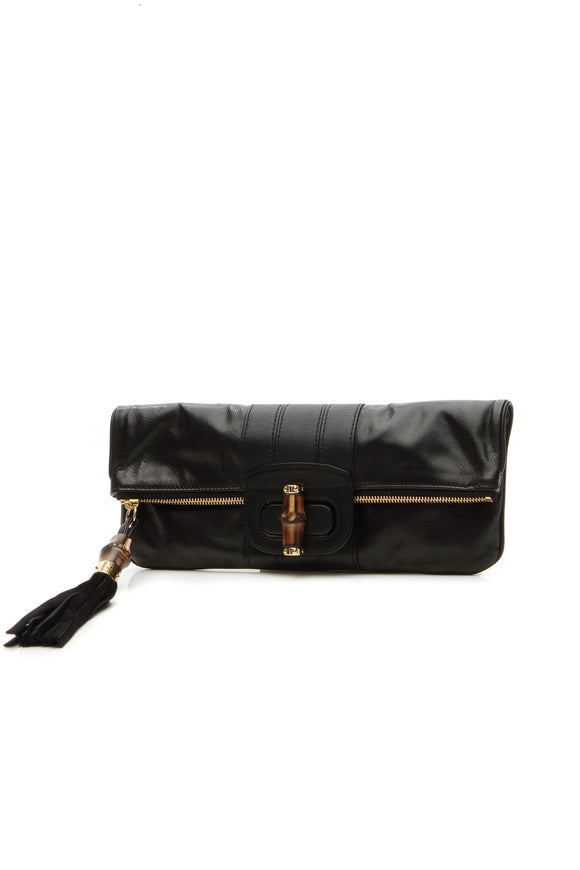 Gucci Lucy Bamboo Folded Clutch Bag - black