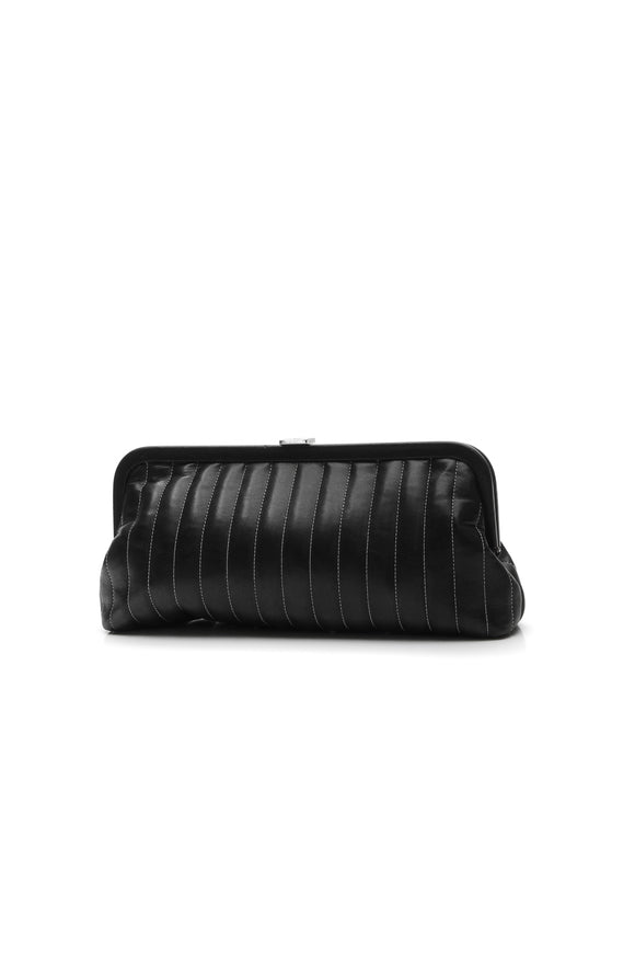 Chanel Vertical Stitch Kiss Lock Clutch Bag - Black