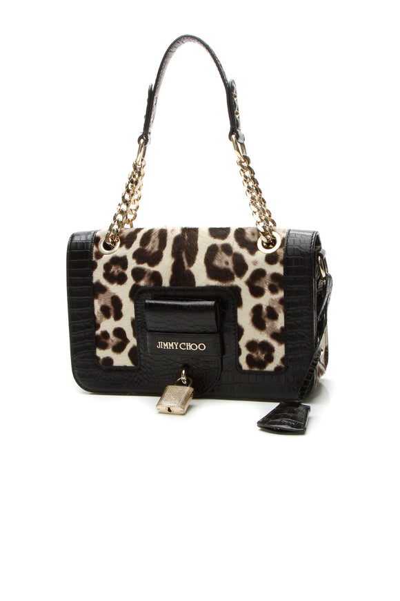 Jimmy Choo Leopard Gwen Bag - Black/Beige