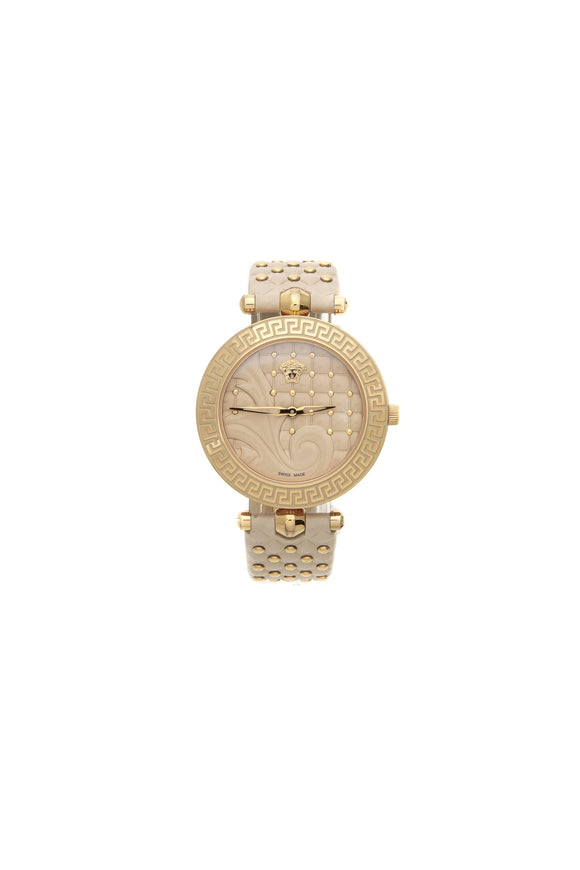 Versace Studded Vanitas Watch - Rose Gold Steel/Cream