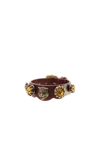 Gucci Feline Head Crystal Wrap Bracelet - Brown