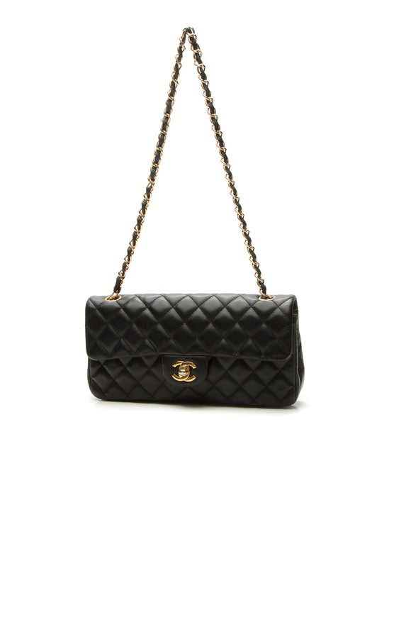 Chanel East/West Single Flap Bag - Black