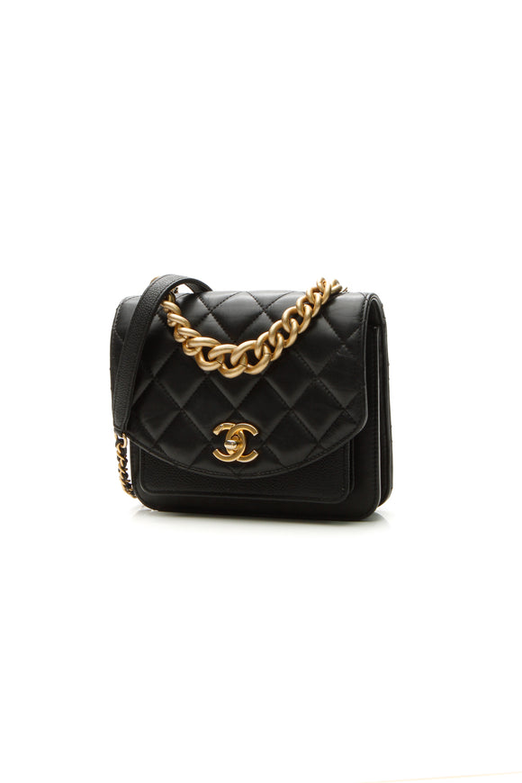 Chanel Quilted Mini Chain Flap Bag - Black