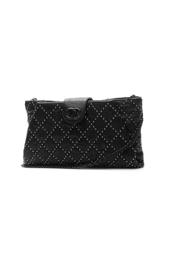 Chanel Coco Pleats Studded Clutch Bag - Black