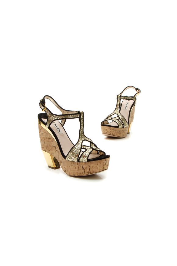 Miu Miu Glitter Strappy Wedge Sandals - Silver Size 38.5