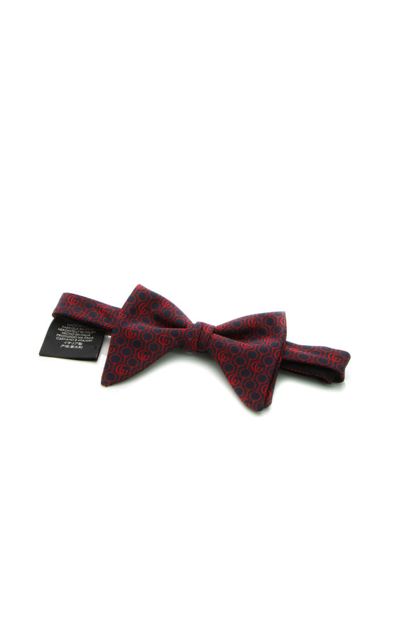 Gucci GG Horsebit Bow Tie - Red/Navy