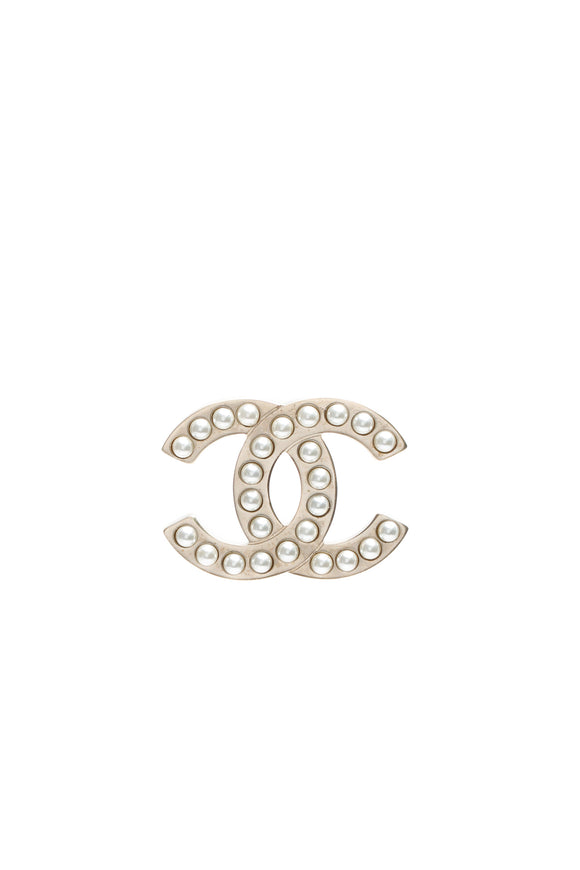 Chanel CC Pearl Brooch - Gold Rich text editor
