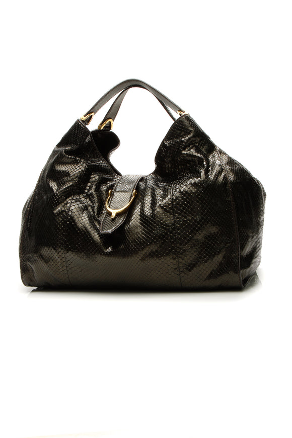 Gucci Python Soft Stirrup Hobo Bag - Black