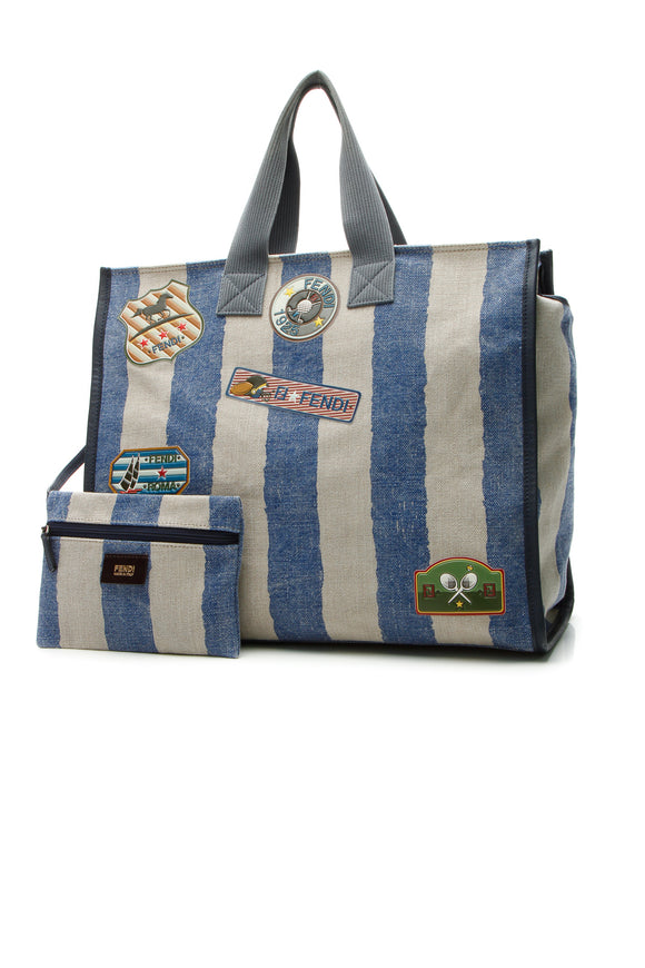 Fendi Sports Patches Striped Tote Bag - Blue/Beige