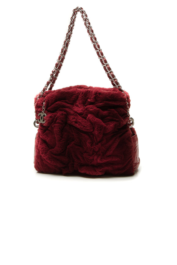 Chanel Rabbit Fur Shoulder Bag - Burgundy