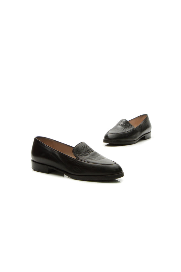 Chanel Vintage Interlocking CC Loafers - Black Size 38.5