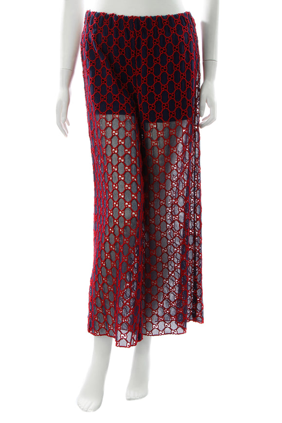 Gucci GG Macrame Pants - Red/Navy Size 42