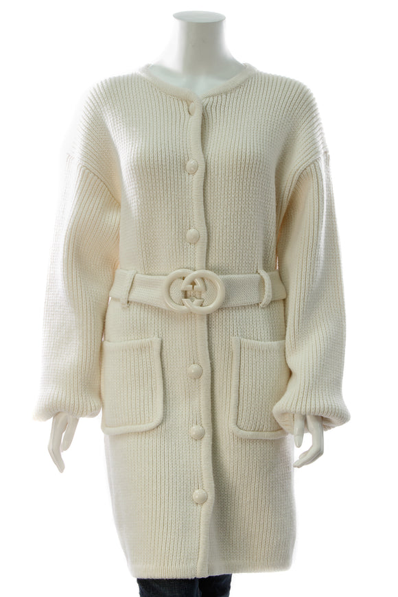 Gucci Belted Long Cardigan - Cream Size Large