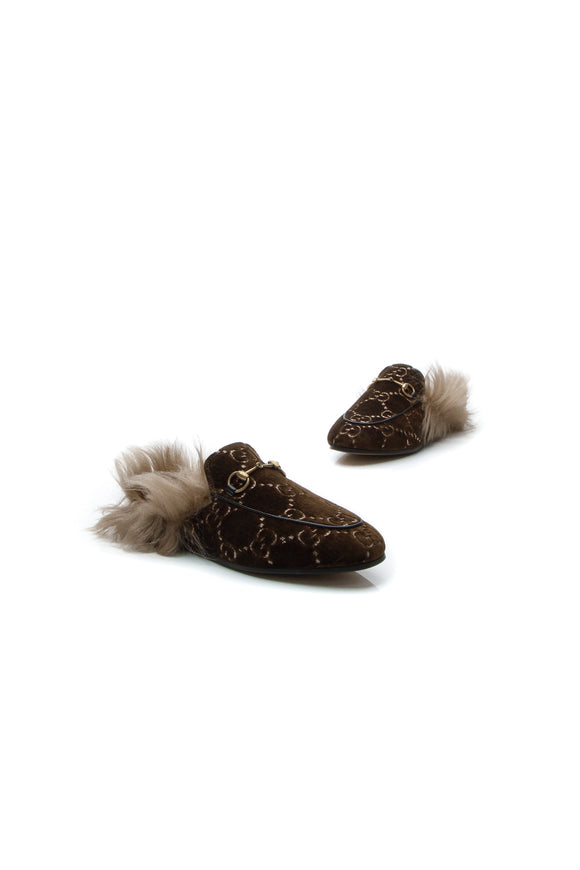 Gucci Velvet Princetown Fur Slippers - Brown Size 38.5