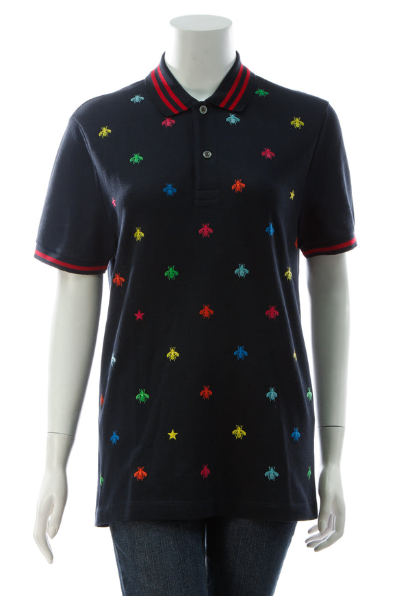 Gucci Bee & Star Polo Shirt - Navy Size Medium