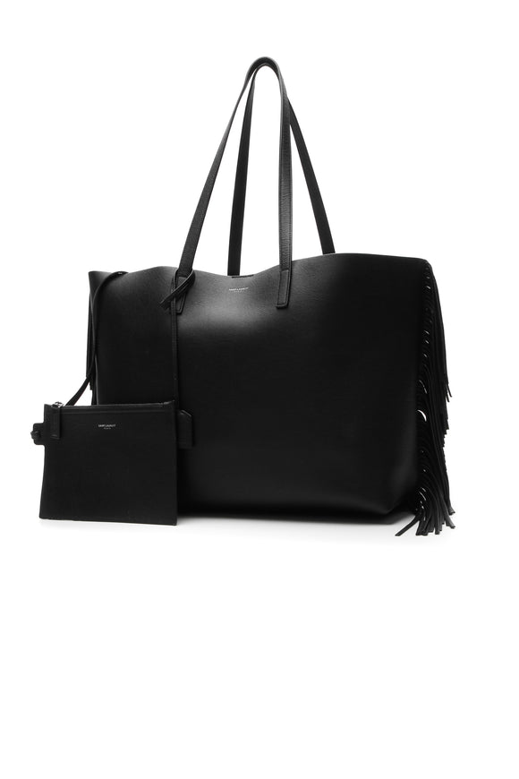 Saint Laurent Fringe Large Shopping Tote Bag - Black