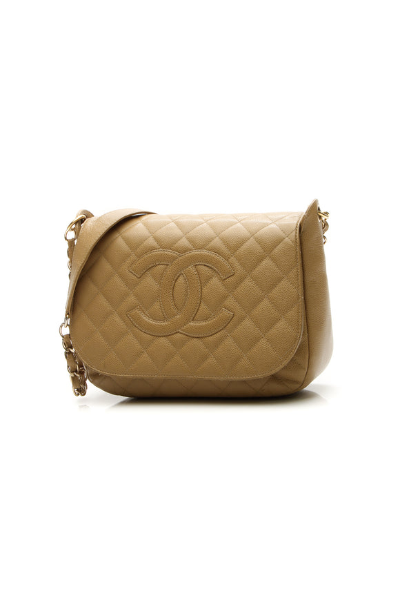 Chanel Timeless CC Flap Shoulder Bag - Beige Caviar