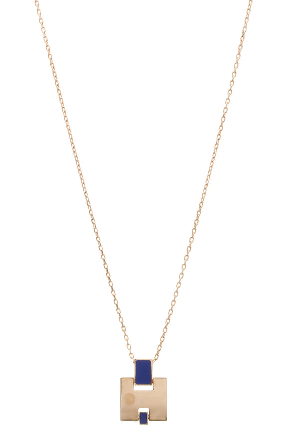 Hermes Eileen Pendant Necklace - Rose Plated/Blue