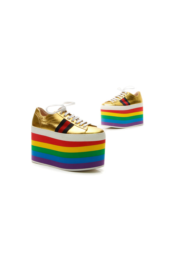 Gucci Peggy Rainbow Platform Sneakers - Gold Size 35