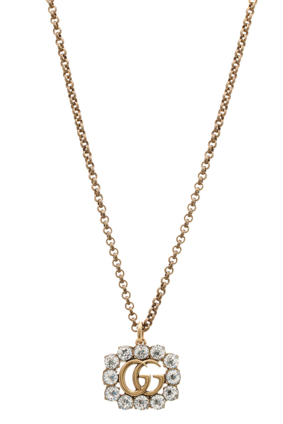 Gucci Crystal Double G Necklace - Aged Gold