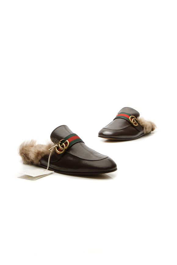 Gucci Princetown Web Fur Men's Slippers - Brown US Size 10