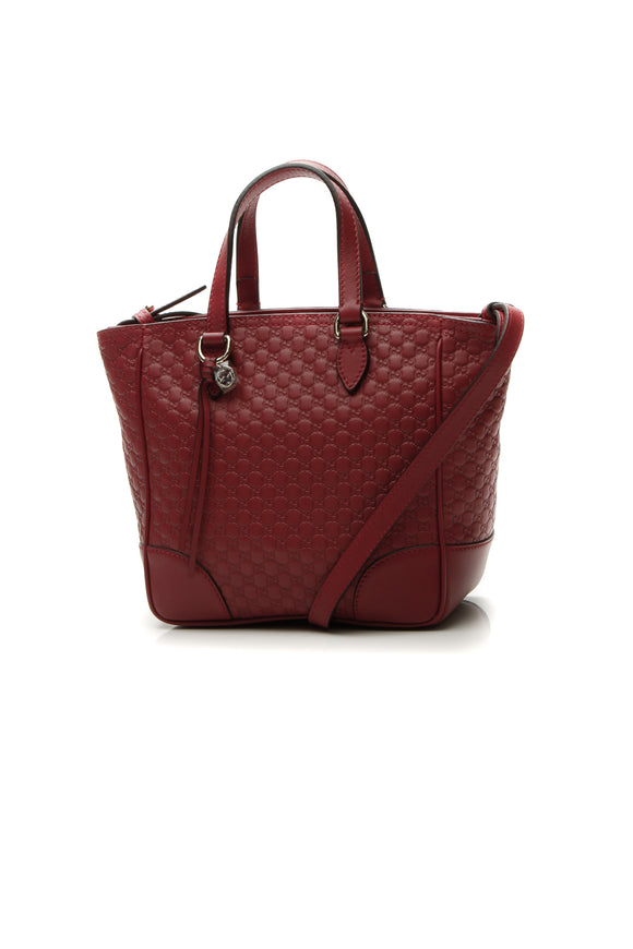Gucci Small Bree Tote Bag - Red Microguccissima