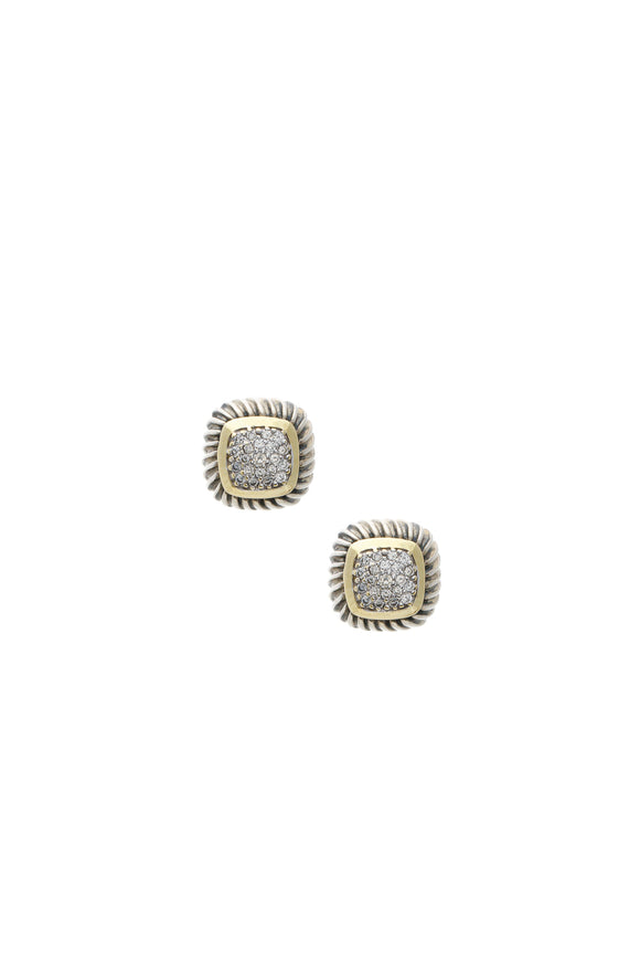 David Yurman Pave Diamond Petite Albion Earrings - Silver/Gold
