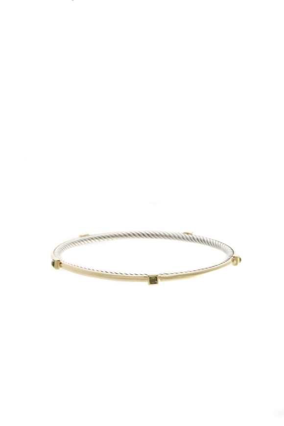 David Yurman Peridot Station Inside Cable Bracelet - Gold/Silver