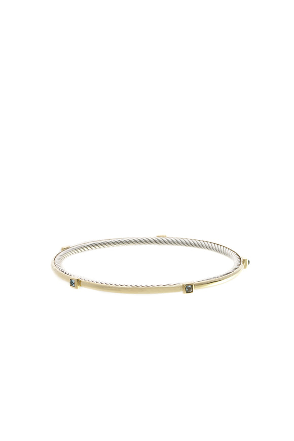 David Yurman Topaz Station Inside Cable Bracelet - Gold/Silver