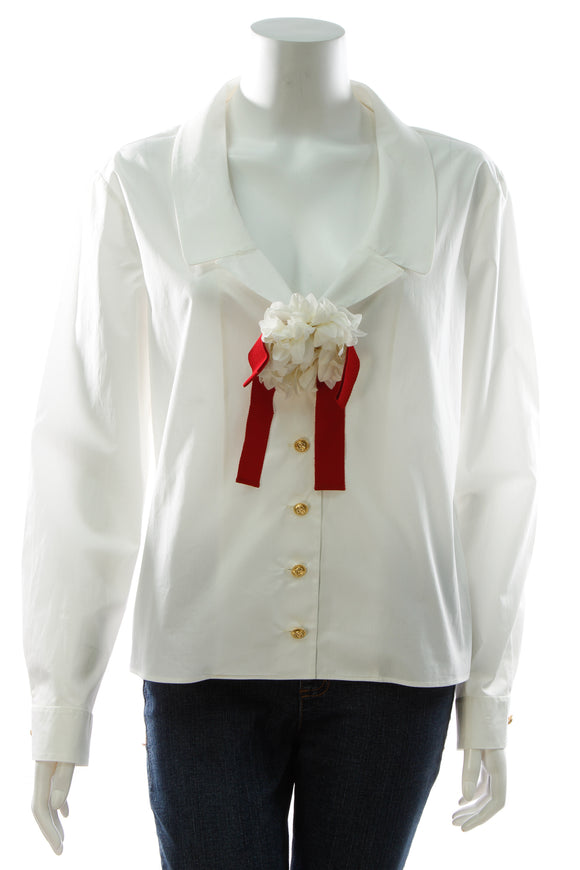 Gucci Floral Brooch Blouse - White Size 44