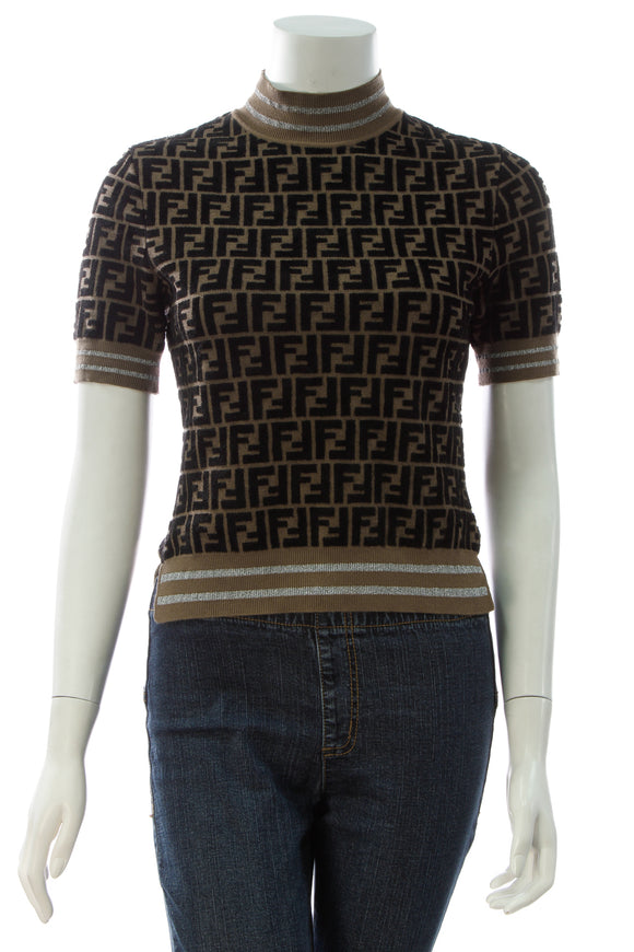 Fendi Prints On Zucca Pullover Top - Brown Size 38