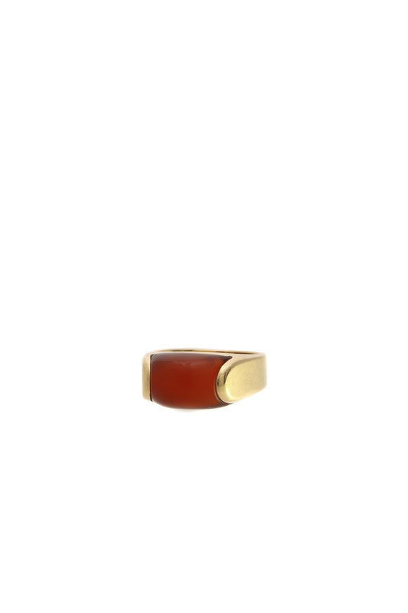 Bvlgari Carnelian Tronchetto Cocktail Ring - Gold Size 5.5