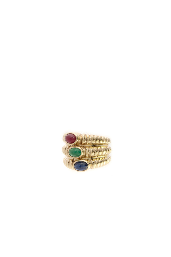 Fine Jewelry 3 Stone Cocktail Ring - Gold Size 5.25