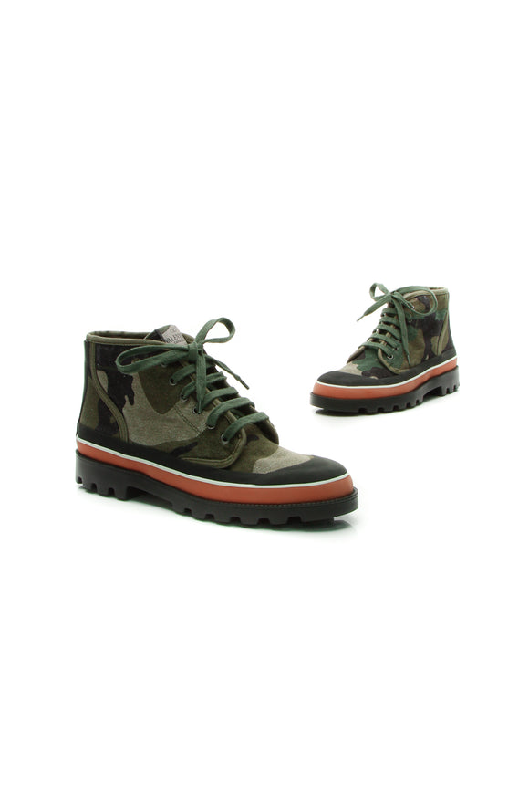 Valentino ID Camouflage Sneaker Boots - Army Green Size 41