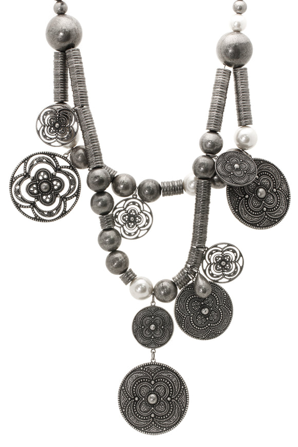 Christian Dior Disc Necklace Pewter