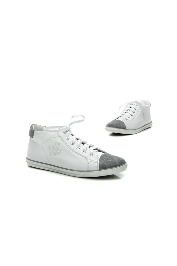 Chanel CC High-Top Sneakers - White Size 41