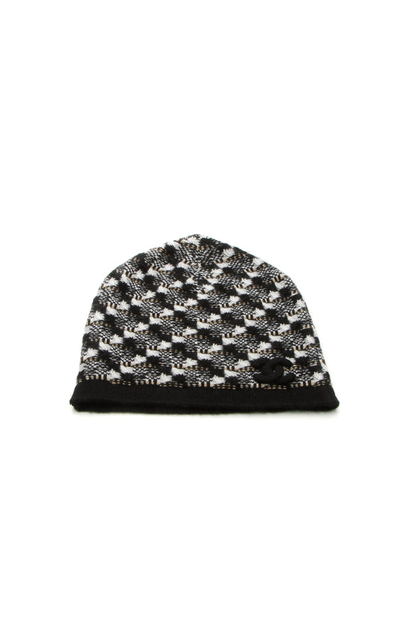 Chanel CC Cashmere Beanie Hat Black White