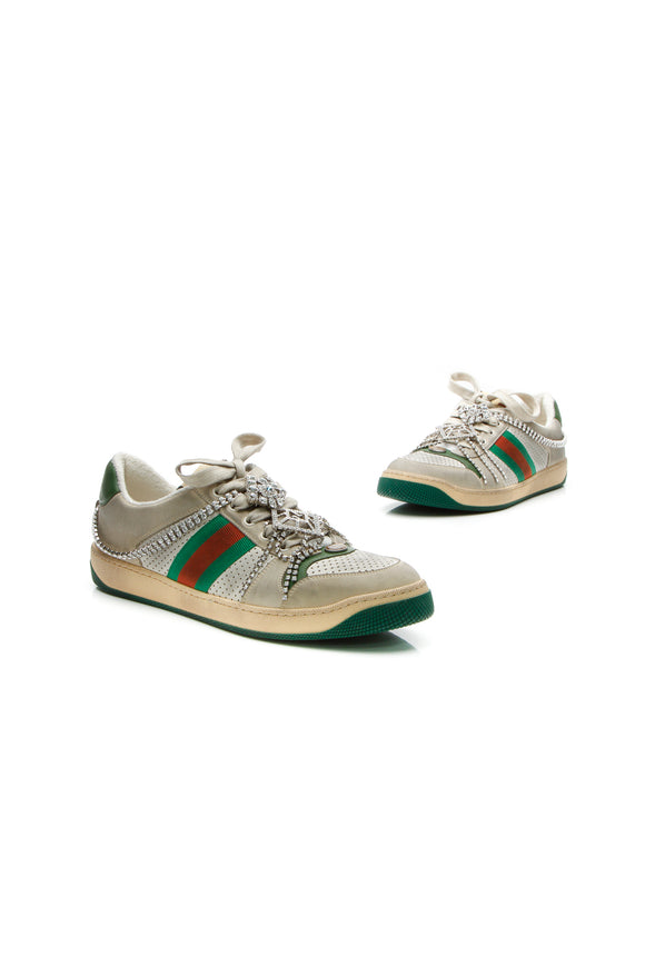 Gucci Crystal Screener Sneakers - Gray Size 41